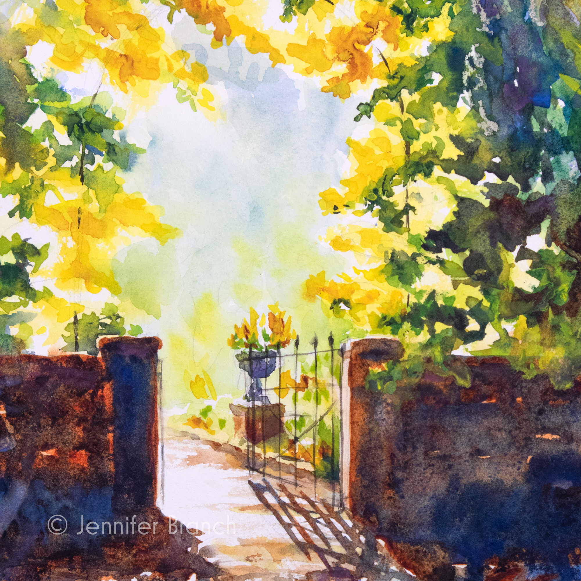 Garden gate watercolor painting