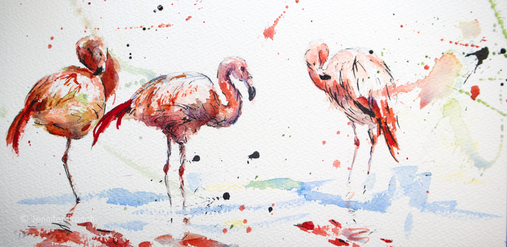 flamingoes sketch