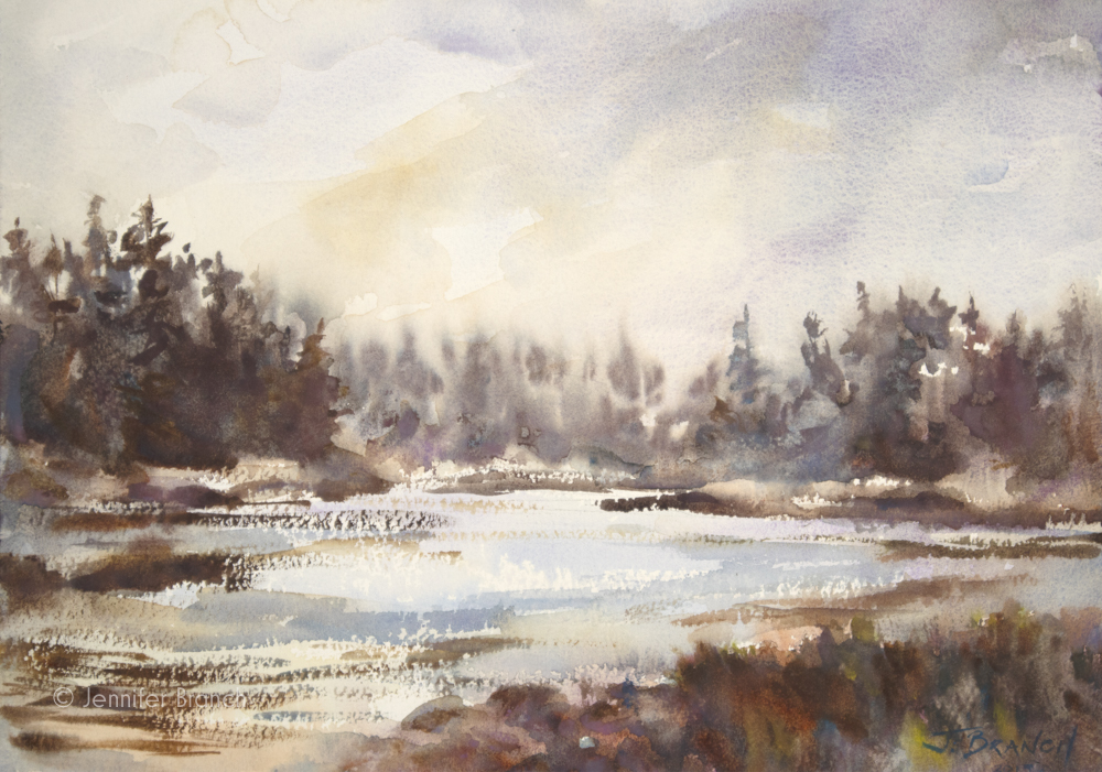 watercolor painting of a sunset cove.