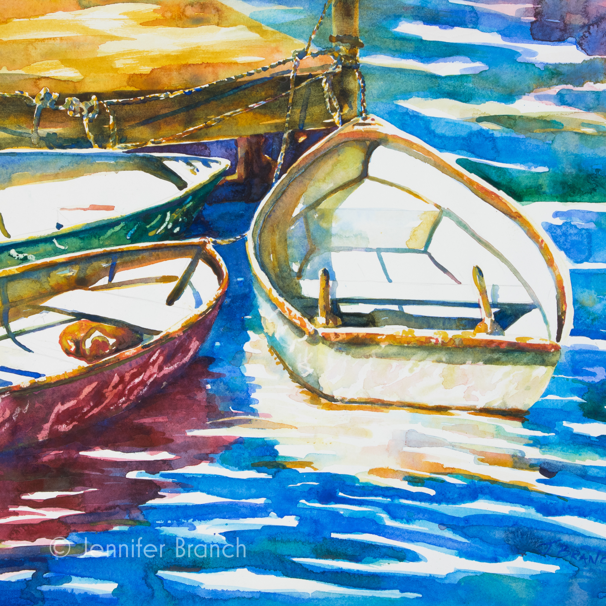 Three Dinghies watercolor painting